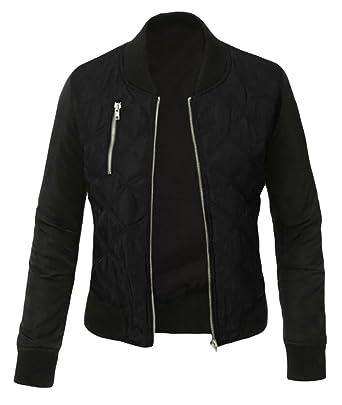 b6644530e78 ouxiuli Women s Lightweight Full Zipper Warm Short Coat Slim Fit Jacket  Black X-S