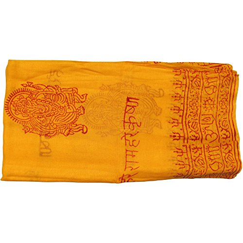 Indian Ganesh Om Meditation Yoga Altar Cloth Prayer Shawl Scarf (Saffron Yellow)