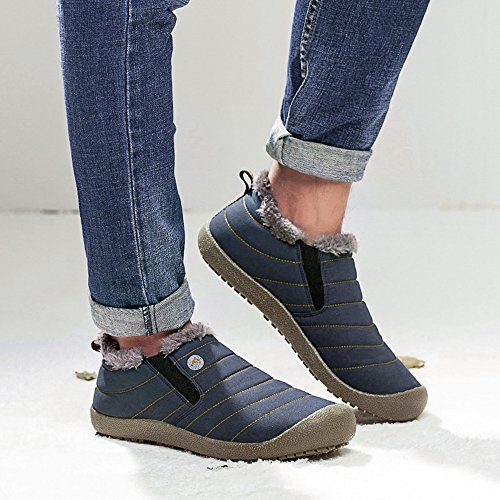 Slip Fur Waterproof Blue Winter low Women Snow Outdoor Top On Lightweight Ankle SITAILE Boots Slippers Men Lined Booties E7wYq