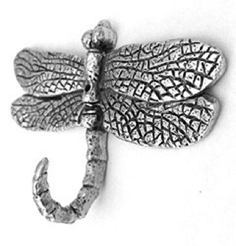 NEW ITEM LARGE DRAGONFLY HOOK ANTIQUE SILVER HK-608AS