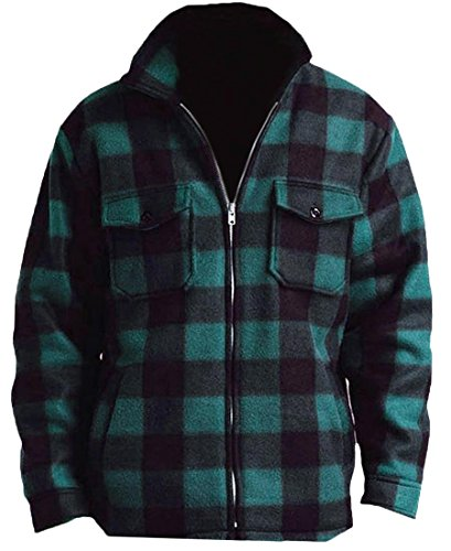 Woodland Supply Co. Men's Heavy Warm Fleece Sherpa Lined Zip Up Buffalo Plaid Jacket (X-Large, Hunter (Mens Plaid Coat)
