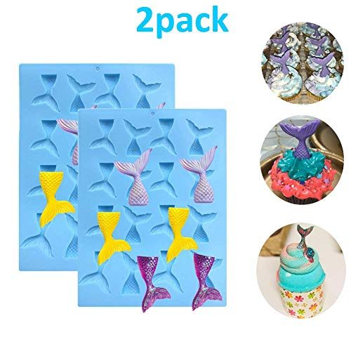 Palksky 2 Pack 16 Cavity Gummy Mermaid Tail Mold DIY Candy//Chocolate molds for C