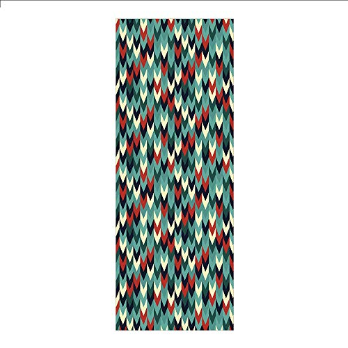 3D Decorative Film Privacy Window Film No Glue,Teal,Vertical Chevron Triangles Abstract Arrow Motifs Zigzag Herringbone Pattern Vintage Decorative,Multicolor,for Home&Office ()