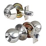 Single Cylinder Deadbolt Entrance Entry Door Knob Lock Combo Set Stainless Steel