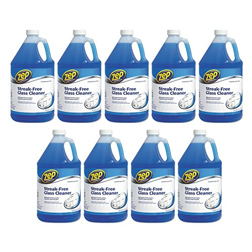 Zep Commercial 1041684 Streak-Free Glass Cleaner, Pleasant Scent, 1 gal Bottle (9 pack) by Zep Commercial