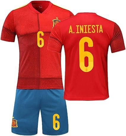 PAOFU-Copa de Europa 2020 en Casa Equipo Nacional de Fútbol de España 6# Andres Iniesta Fan Camisetas de Fútbol: Amazon.es: Deportes y aire libre