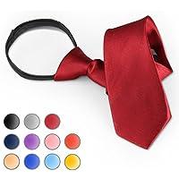 Brooben Boys' Satin Zipper Neck Tie 14 inch Children Wedding Tie NK1