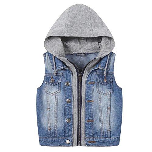 Kids Boys Hooded Denim Vest Zipper Fashion Hoodie Jean Jacket Tops Tank Waistcoat Zip With Hood 3-10 Years