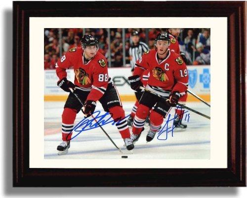 Framed Patrick Kane and Jonathan Toews Autograph Replica Print - Chicago Blackhawks Chicago Blackhawks Jonathan Toews Framed