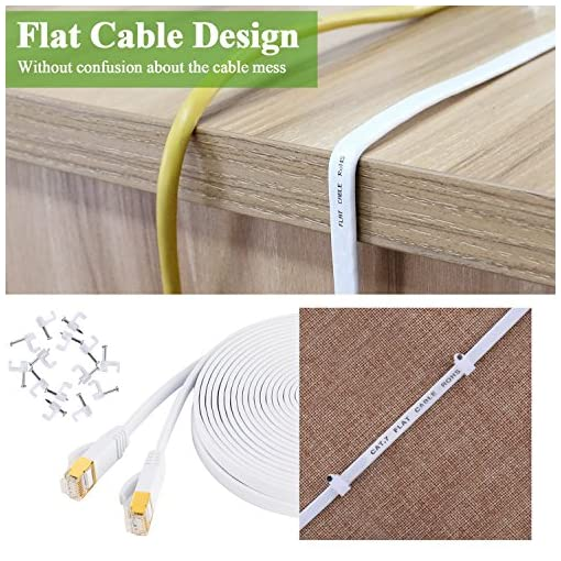 10m Cat 7 Ethernet Cable – Fastest Cat7 Flat Ethernet Patch Cables 750Mhz 10GB – Internet Cable for Xbox,PS4,PS3,Modem,Router,LAN,Switch-Compatible Cat5e/Cat6a/Cat6 Network-Cable Clips Included-WHITE