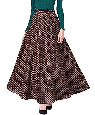 chouyatou Women's Retro High Waist A-Line Swing Maxi Check Plaid Wool Skater Skirt
