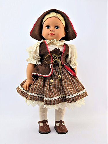 [Brown Traditional Swiss-German Dress for 18 Inch Dolls #361] (German Dress)
