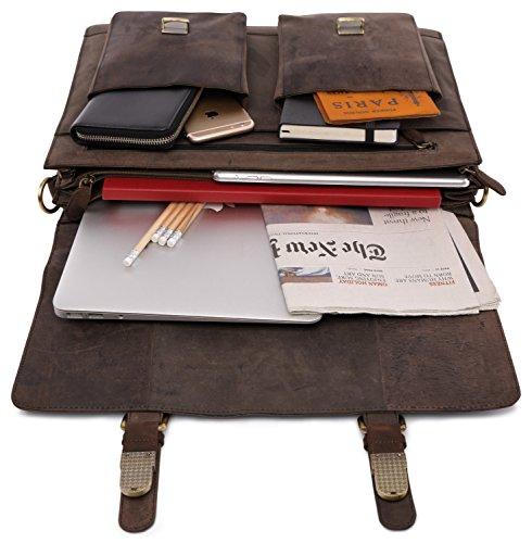 Nutmeg LEABAGS Nutmeg Miami leather briefcase in buffalo style vintage genuine R8Rqw1aP