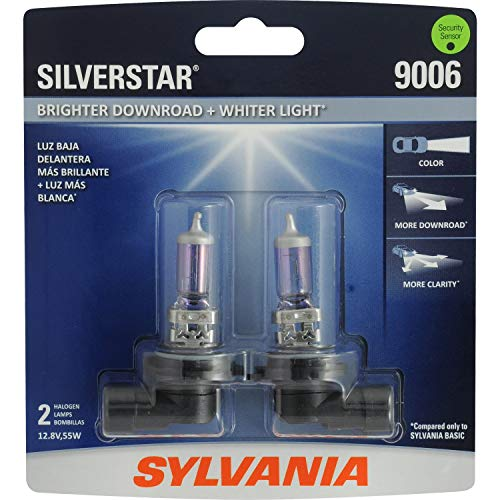 SYLVANIA - 9006 SilverStar - High Performance Halogen Headlight Bulb, High Beam, Low Beam and Fog Replacement Bulb, Brighter Downroad with Whiter Light (Contains 2 Bulbs)
