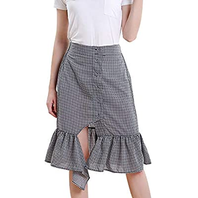 Vero Viva Women's Plaid Button Down A-line Midi Skirt with Fishtail Split Front