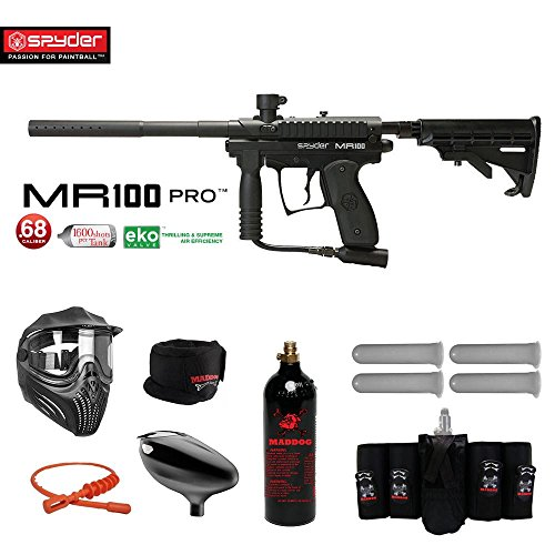 MAddog Spyder MR100 Pro Elite CO2 Paintball Gun Package - Black