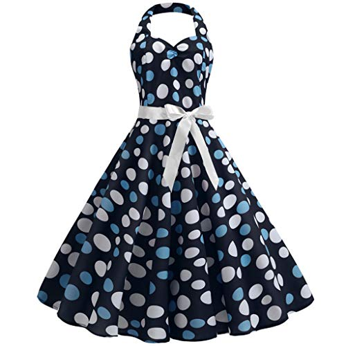 QIQIU Womens Halter Dot Print Vintage A-line Retro Belt Evening Party Prom Swing Dress Blue