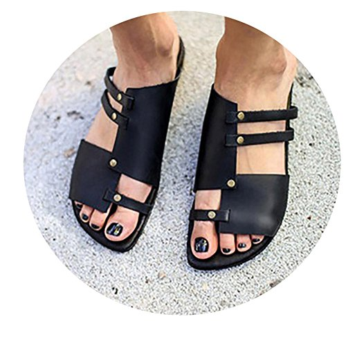 Shoes Slippers SNC Fashion Size PU Concise Simple Plus W6LDiJLddl Ladies Black 42 008 43 Leather fqAHaw