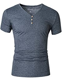 Mrignt Mens Short Sleeve Slim Fit Henley t-shirt with Button