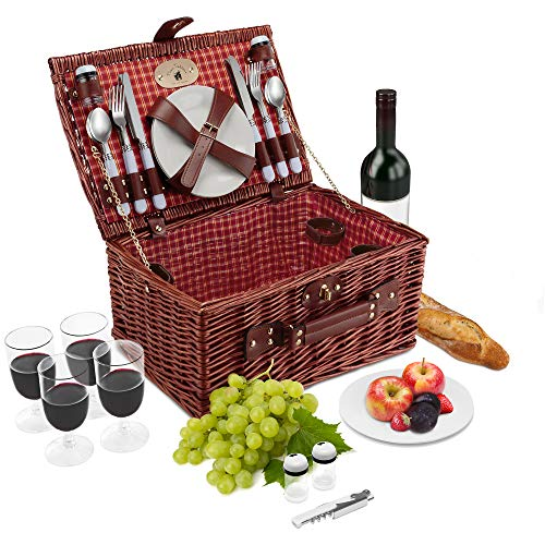 Wicker Picnic Basket Set | 4 Person Deluxe Vintage Style Woven Willow Picnic Hamper Kit | Ceramic Plates, Stainless Steel Silverware, Wine Glasses, S/P Shakers, Bottle Opener (Red/Yellow Lining)