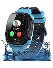 Smooce Kids Smartwatch Telefoon, Waterdicht Kids Smart horloge met LBS Tracker SOS Voice Chat en Camera Game voor 3-12 Jaar Oude Kids Verjaardag (Blauw)