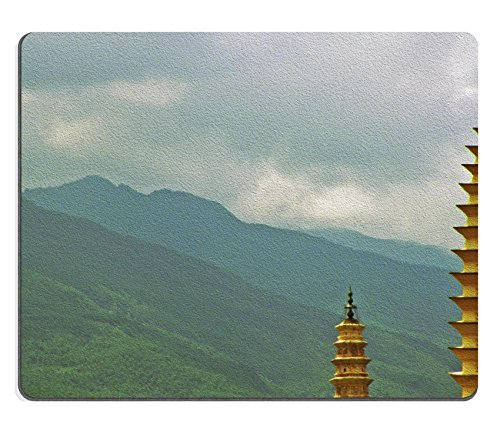 MSD Natural Rubber Mousepad Photo of three famous pagodas in Dali Yunnan Province China stylized and filtered to IMAGE 36472835 Stain Resistance Kit Kitchen Table Top Desk C