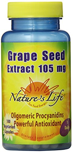 Nature's Life Grape Seed Extract Veg Capsules, 105 Mg, 100-Count (Pack of 12) by Nature's Life
