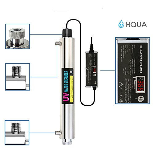 Ultraviolet Water Purifier Sterilizer Filter for Whole House Water Purification,12GPM 55W Model HQUA-UV-12GPM + 2 Extra UV Tube ,With Lamp Rated Life 365 Days by HQUA