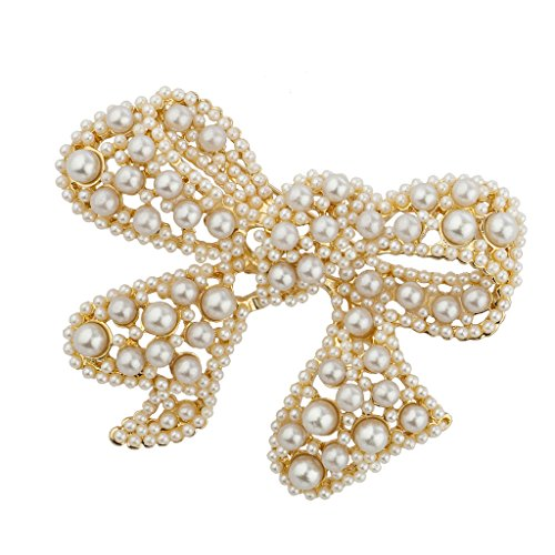 Bow Pearl Clasp (Lux Accessories Goldtone imitation Pearl Encrusted Stone Wrap Bow Holiday Brooch Pin)