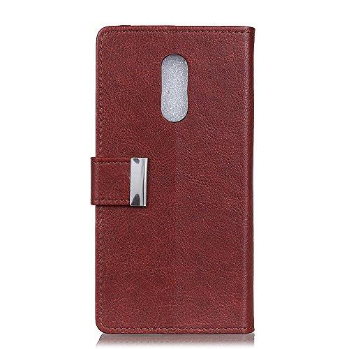 Funda Xiaomi Redmi 5 [Happon] Ranuras para Tarjetas y Billetera Carcasa PU Libro de Cuero Flip Leather Cierre Magnético Soporte Plegable para Xiaomi Redmi 5 (Marrón Claro) Marron Oscuro