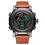 RISTOS Mens Sports Watch Double Movement Digital Analog Display Waterproof Multifunctional LED Military Wrist Watch, Big Face Outdoor Leisure Stylish Watch with Genuine Leather Strap (Brown)