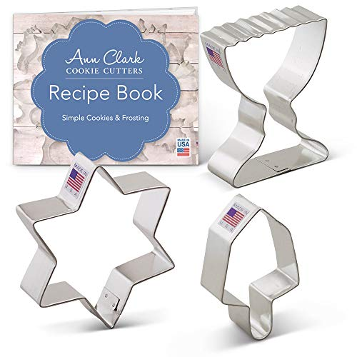 Hanukkah Cookie Cutter Set with Recipe Book - 3 piece -Star of David, Dreidel, Menorah - Ann Clark - USA Made - Hanukkah Cookie