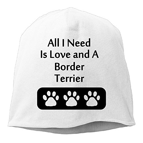 Terrier White Hat - DMN Fashion Solid Color All I Need Is Love and A Border Terrier Wool Hat For Unisex White One Size