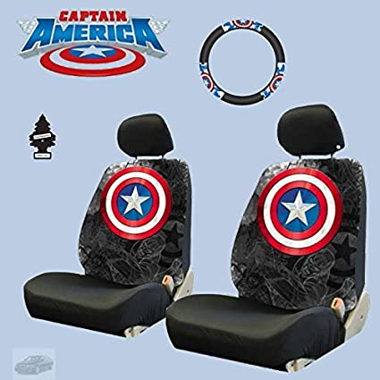 New Design 6 Pieces Marvel Comic Captain America Car Seat Covers And Steering Wheel Cover Set