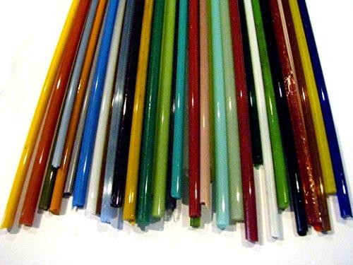 Devardi Glass 5mm Stringers 1 lb Sampler, COE 104 Glass Rods for Lampwork, Beadmaking