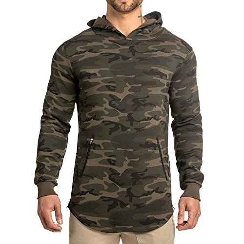 EVERWORTH Men's Gym Workout Long Sleeve Hoodies Training Pullover Casual Hooded Sweatshirt Camo