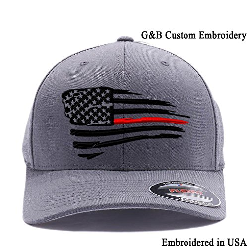 Flexfit Thin Red Line Waving USA Flag. Embroidered, 6477 Wool Blend Cap hat (L/XL Grey2) -