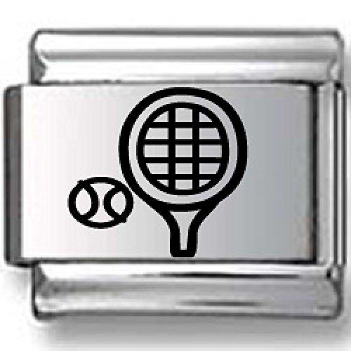 Ball Italian Tennis Charm - Tennis Ball and Racquet Black Laser Italian Charm