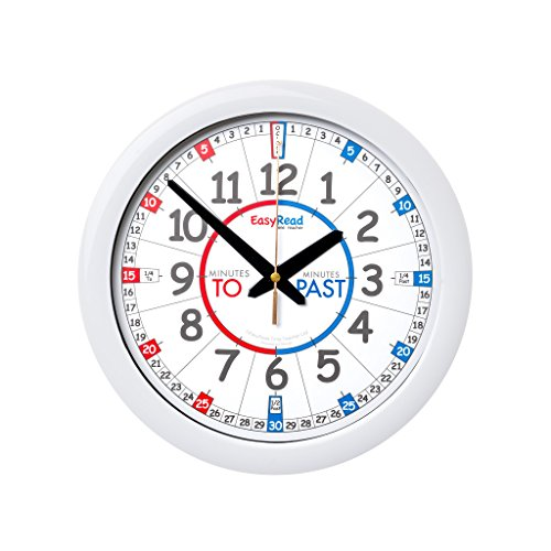EasyRead Time Teacher Children's Wall Clock (Blue) with simple 3-step time teaching system, 12
