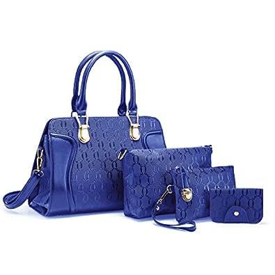 SNUG STAR Women's Fashion Multifunction Leather Printing Top-Handle Tote Handbag Shoulder Cross Body Purse Bag Evening Bag 4Pcs Set(Blue)