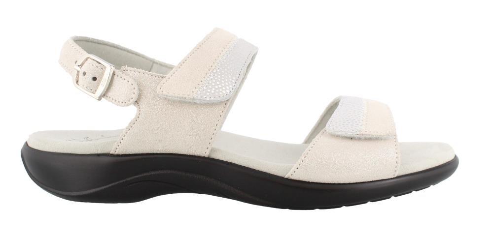 SAS Women's, Nudu Low Heel Sandals B077L9W8P2 8.5 XW US|Silver