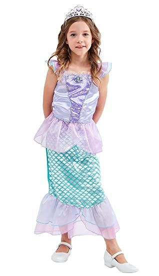 47dccfb81d TOKYO-T Ariel Costume for Kids Little Mermaid Princess Dress Up with Tiara  (Size