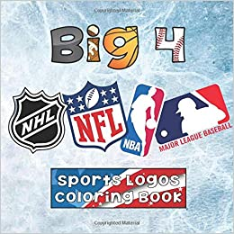 best website adfed 226ef Big 4 Sports Logos Coloring Book: MLB / NBA / NFL / NHL ...