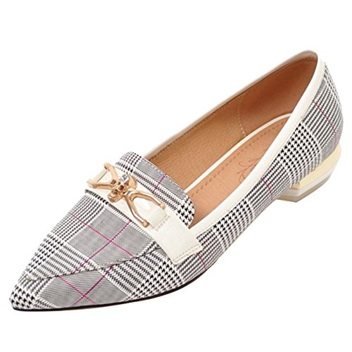 SJJH Court Shoes with Low Heel and Pointed Toe Casual Shoes White