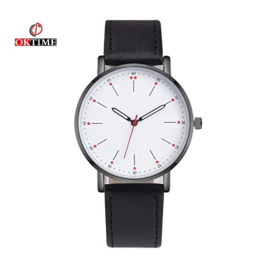 Start Couple Watch Mens Casual Leather & Canvas Watches Wrist Bracelet (Black (Leather Band