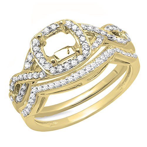 Dazzlingrock Collection 0.40 Carat (ctw) 14K Round White Diamond Swirl Semi-Mount Engagement Ring Set, Yellow Gold, Size 5 ()