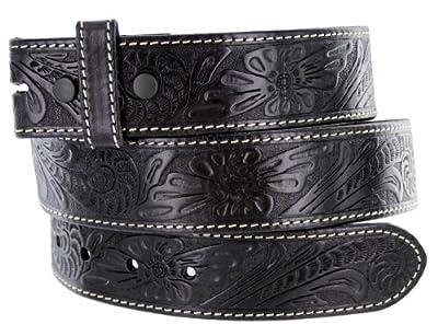 Western Floral Engraved Tooled Leather Belt Strap 1-1/2
