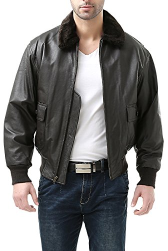 Landing Leathers Men's Navy G-1 Leather Flight Bomber Jacket, Brown, Small