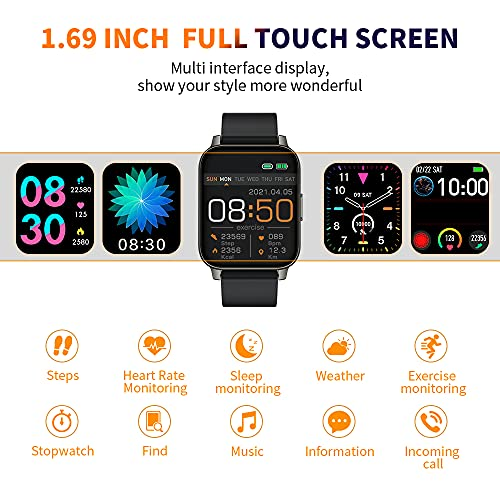 Smartwatch, 1,69\'\' TFT Orologio Fitness Tracker Uomo Donna Smart Watch Sonno Cardiofrequenzimetro, IP68 Impermeabile Sportivo Activity Tracker Contapassi Cronometro, Smartband, Notifiche Messaggi