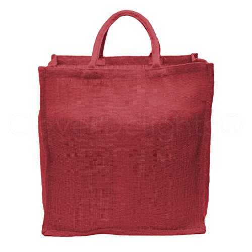 (5 Pack - CleverDelights Red Burlap Shopping Bags - 16